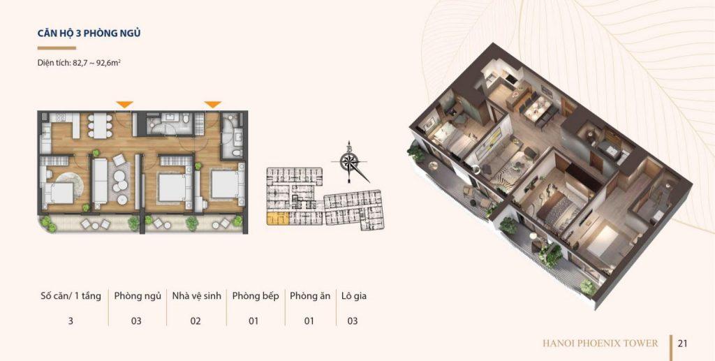 Bán căn hộ 3 phòng ngủ chung cư Hà Nội phonix Cao Bằng